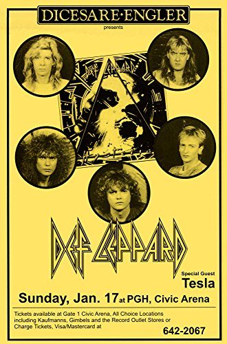 (Innerwallz Def Leppard at Civic Arena 1988 Retro Art Print - Poster Size - Print of Retro Concert Poster - Features Rick Savage, Joe Elliott, Rick Allen, Phil Collen, and Vivian Campbell.)