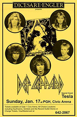 Def Leppard at Civic Arena 1988 Retro Art Print — Poster Size — Print of Retro Concert Poster — Features Rick Savage, Joe Elliott, Rick Allen, Phil Collen, and Vivian Campbell.. (Def Rick Allen Leppard)