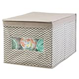 Baby Crib with Changing Table and Dresser Attached mDesign Soft Stackable Fabric Closet Chevron Storage Organizer Holder Box - Clear Window, Attached Hinged Lid, for Child/Baby Room, Nursery, Playroom - Large, Zig Zag Pattern in Taupe/Natural