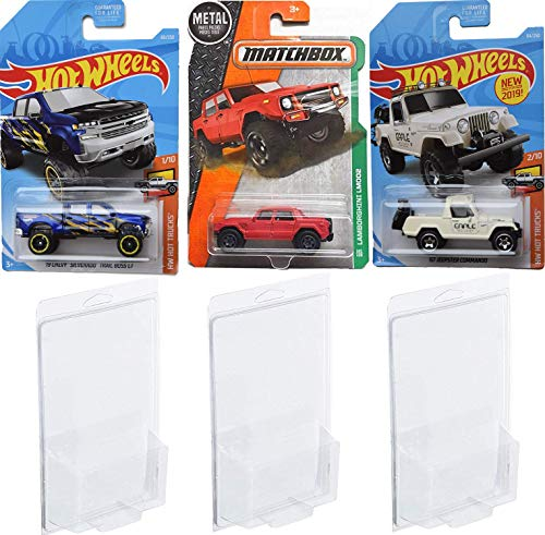 (Boss Silverado Die-Cast Hot Wheels '19 Blue Chevy Pickup Truck Bundle + Matchbox Lambo LM002 Red Explorer & HW Jeepster Commando New 2019 Model in Protective Cases)