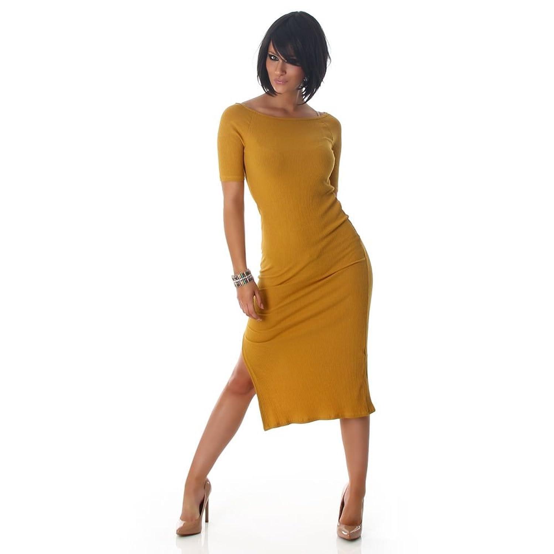 Jela London Damen Kleid   Feinripp-Optik   Ärmellos   Weiter Rundhalsausschnitt   Mit seitlichem Schlitz