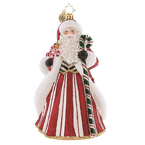 Christopher Radko Peppermint Candy Kringle Santa Glass