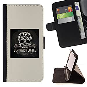 - Skull Coffee Death Wish Poster Black - - Prima caja de la PU billetera de cuero con ranuras para tarjetas, efectivo desmontable correa para l Funny HouseFOR HTC DESIRE 816