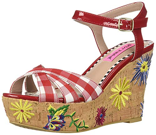 Betsey Johnson Wedges - Betsey Johnson Women's Traci Wedge Sandal, red/Multi, 8 M US