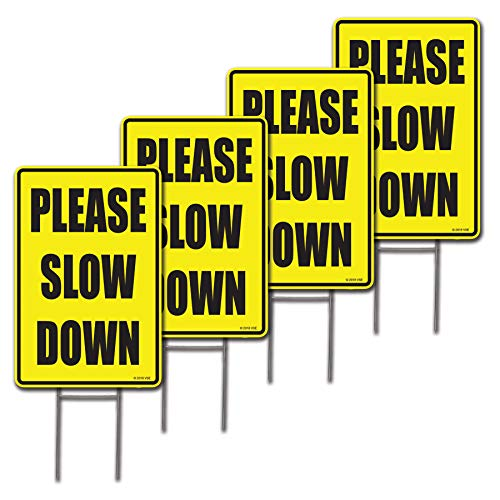 4 Pack 12x18 Please Slow Down Lawn Signs with H-stakes