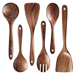 Wooden Utensils For Cooking Wooden Spoons For Cooking and Spatulas For Nonstick Pans Smooth Finish Teak Wooden Spoon Sets For Cooking Wooden Cooking Utensils Set Wooden Spoon Sets Salad Fork