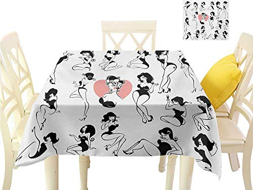Angoueleven Easter tablecloths Girls,Famous Sexy Girl Model Posing with Full Body Features Heart Tattoo on Thigh Make Up,Black White Square Polyester Tablecloth W 54