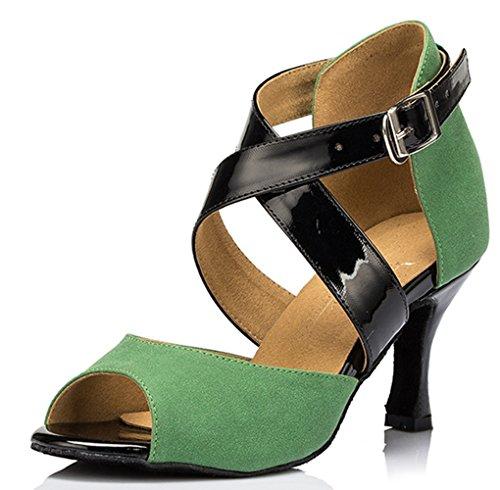 Miyoopark Womens Ankle Wrap Satin Salsa Ballroom Samba Tango Latin Dance Shoes Green