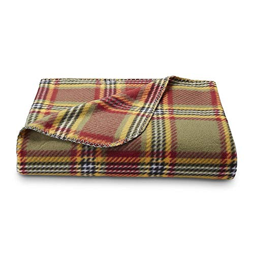 Colormate Soft Red Gray Blue Red White Tan Green Grey Plaid Fleece Large Snuggle Lounge Throw Wrap Blanket (Red Green) (Throw Green Plaid)