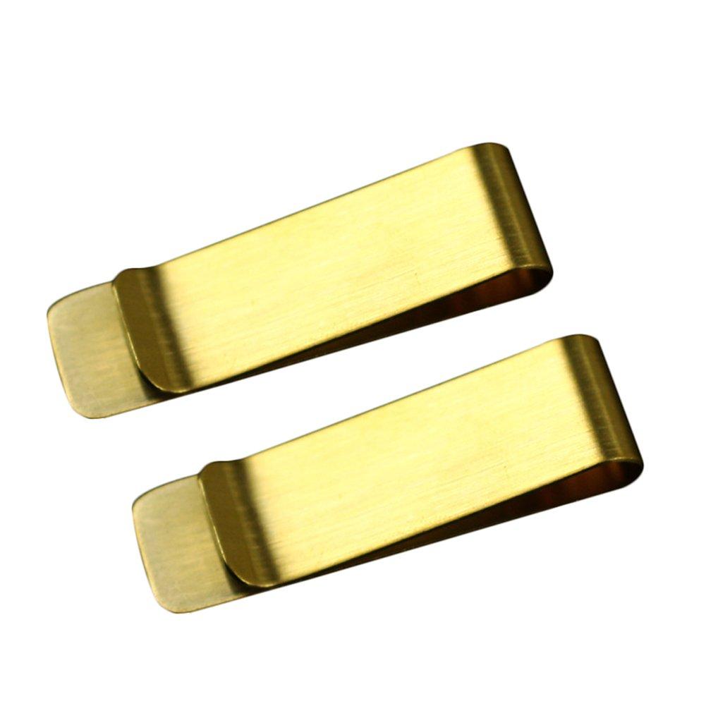 Milopon Geldscheinklammer aus Edelstahl 5 * 1.5 * 0.08cm 2pcs (Gold)