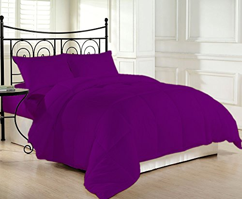 Living Egyptian Cotton Space - 600 Thread Count Luxurious and Cozy 100% Egyptian Cotton Comforter Purple King By Kotton Culture Solid (Cocoon Feel 200 GSM Summer Weight Microfibre filling)