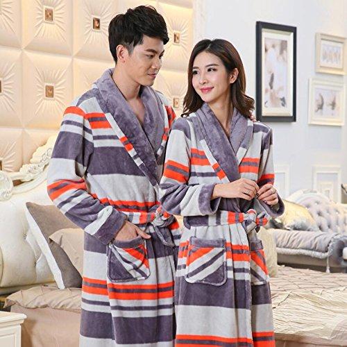 LJ&L Parejas camisón transpirable pijama larga comodidad albornoces coral cashmere moda suelto servicio a domicilio,Men,XXXL Men
