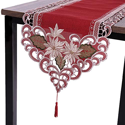 Sattiyrch Christmas Embroidered Table Runner, Luxury Poinsettia and Holly Table Runner for Xmas Decorations,15x69 Inch (Red)