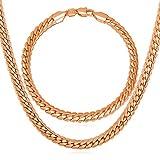 U7 Punk Style Men Jewelry Set Rose Gold Plated Snake Chain Bracelet & Necklace With 18K Stamp