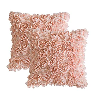 MIULEE 3D Decorative Romantic Stereo Chiffon Rose Flower Pillow Cover Solid Square Pillowcase for Sofa Bedroom Car 1616 Inch 4040 cm Peach Pink
