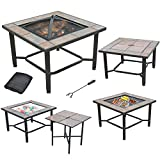 Axxonn 5 in 1, 30'' Square Tile Top Fire Pit, Grill, Cooler, Coffee Table and Side Table with Cover