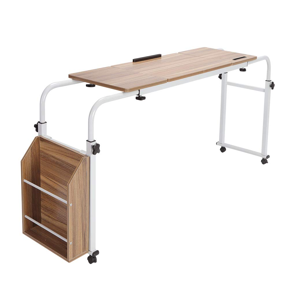 Overbed Trolley Storage Desk Home Rolling Mobile Computer Laptop Desk Over Bed Table Hospital Bed Table Adjustable Mobile Laptop Study Desk White Overbed Table