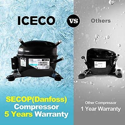 ICECO GO20 Dual Zone Portable Refrigerator, Separate Control, 21 Quart/20 Liter, DC & AC, 0℉ to 50℉, with Danfoss Compressor, Mini Fridge Cooler Refrigerator for Outdoor, Home Use, White: Automotive