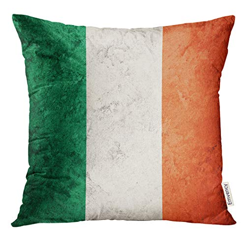 Golee Throw Pillow Cover White Abstract Grunge Ireland Flag Irish with Antique Celebration Decorative Pillow Case Home Decor Square 18x18 Inches Pillowcase