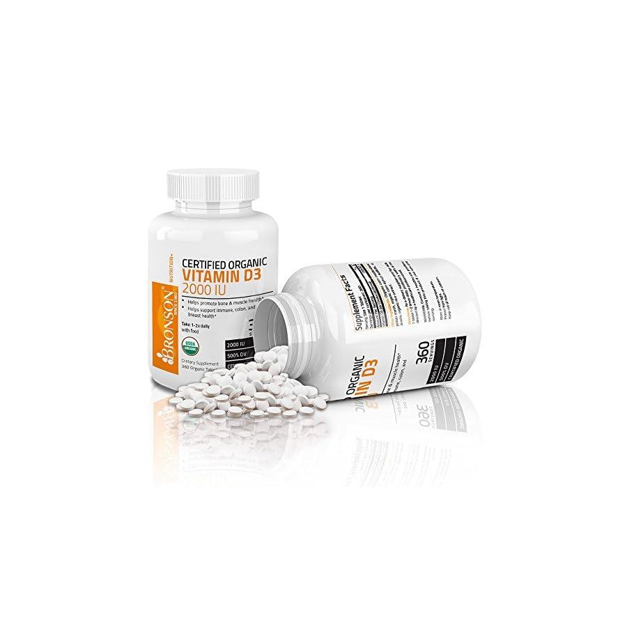 Organic Vitamin D3 5000 IU, USDA Certified, GMO Free, Made in USA by Bronson Laboratories