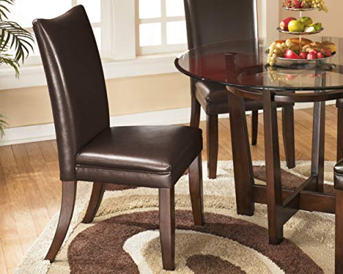 Signature Design by Ashley - Charrell Dining Upolstered Side Chair - Set of 2 - Contemporary Style - Medium Brown - SET OF TWO CLASSIC DINING ROOM CHAIRS: The contemporary Parsons shape of this faux leather upholstered dining chair is a comfortable addition to any dining room HANDSOME LINES: Dining chair with a cushioned seat and back is crafted from wood and manmade wood RICH LEATHER LIKE FEEL: Easy to clean medium brown faux leather upholstery. Legs feature a faux wood finish - kitchen-dining-room-furniture, kitchen-dining-room, kitchen-dining-room-chairs - 51VmHs%2Bj3cL -
