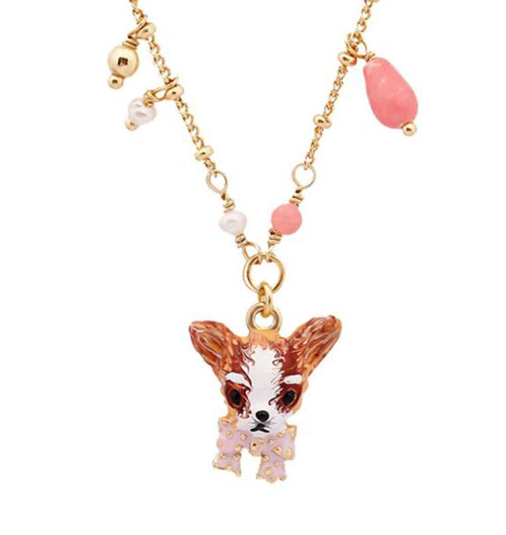Onlyfo Gold Plated Enamel Glaze Copper Chihuahua Dog with Bowknot Pendant Station Necklace with Jewelry Box,Short Dog Necklace for Women (Multicolor)