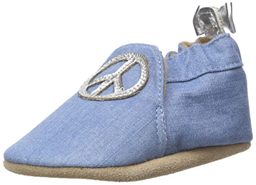 Robeez Girls Crib Shoe, Peace Out-Chambray, 6-12 Months M US Infant