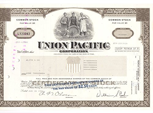 Pacific Railroad Stock (Union Pacific Corporation.. Railroad Stock Certificate. 1000 share Cancelled)