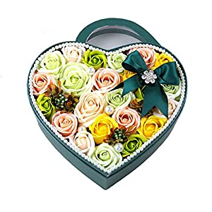 Luccaful artificial-flowers 19Pcs Rose Heart Box Girlfriend Anniversary Birthday Present for Wedding Party Decoration 49