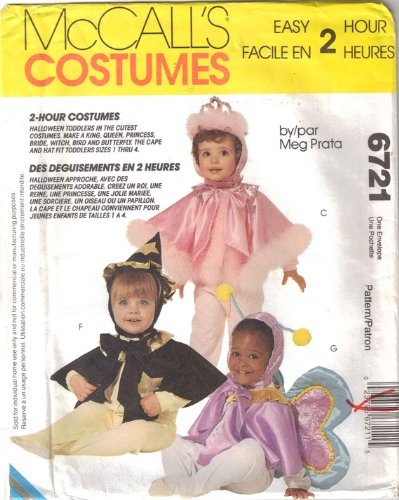 McCall 6721 sewing pattern makes Easy Toddlers Costumes Bird Wizard Butterfly King Princess -