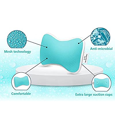 Non-Slip Bath Pillow with Suction Cups, Supports Neck and Shoulders for Home Spa, Bathtub, Hot Tub, Anti Bacterial, Luxurious Neck Pillow by CoastaCloud