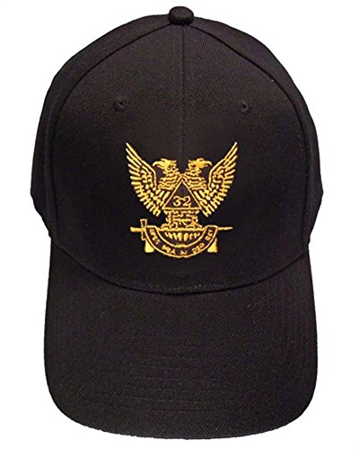 - Masons Baseball Cap - Standard Scottish Rite Wings Up - Masonic Black Hat with 32nd degree Symbol - One Size Fits Most Cap for Freemasons (Black)