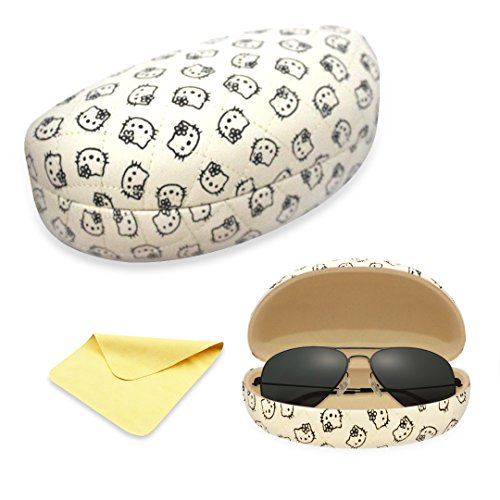 Yulan Hard Shell Sunglasses Case,Classic Extra Large Case for Oversized Sunglasses and Eyeglasses(Hello Kitty)