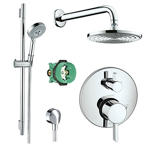 Hansgrohe Complete Chrome Raindance Shower Faucet Set with Handshower Wallbar, Pressure Balance Valve Trim with Diverter, and -