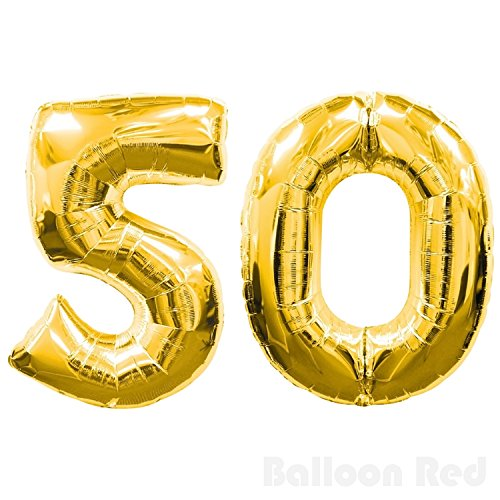 16 Inch Foil Mylar Balloons for Wall Decoration (Premium Quality, Air Fill Only), Glossy Gold, Number 50 (Easy Homemade Costumes For Adults)