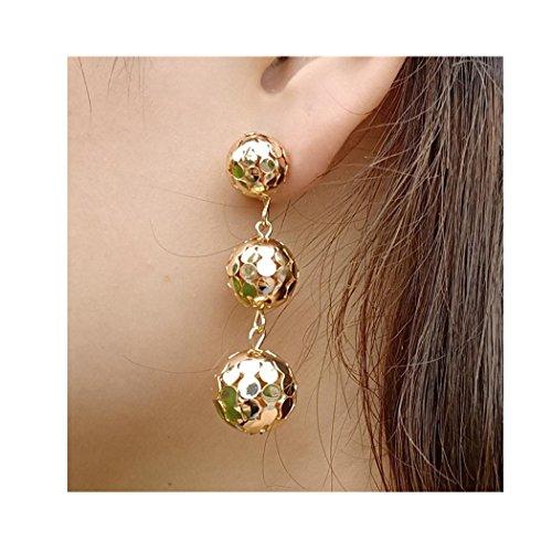 Hollow Ball Earrings - Clearance! Lethez Women Long Tassel Spherical Bead Dangle Earrings Hollow Out Ball Drop Earrings Punk Disco Jewelry (Gold)