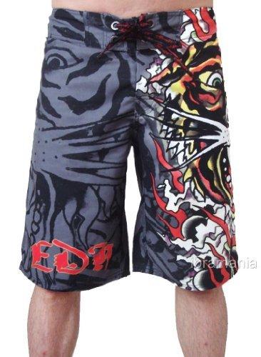 New Ed Hardy Men's Burning Tiger Poly Board Shorts Trunks (31, Black)