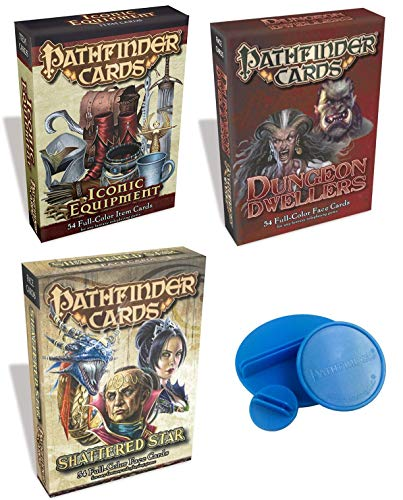 Pathfinder Worthy of Heroes Faces of Adventure Full Color Card Bundle Mystical Items Iconic Equipment Cards + Shattered Star Deck Face & Dungeon Dwellers Characters Fantasy Role Playing Power of Ages