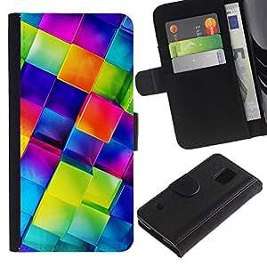 SAMSUNG Galaxy S5 V / i9600 / SM-G900 , la tarjeta de Crédito Slots PU Funda de cuero Monedero caso cubierta de piel ( Polygon Crystal Blue 3D Glass Reflective)