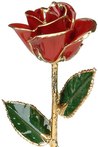 Red 24k Gold Rose by Living Gold - Real Rose Dipped in Gold (24k Gold Trimmed Vase)