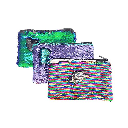Glitter Reversible Sequin Pencil Pouch Small Makeup Organizer Bag Purse (Rainbow/Purple/Teal)