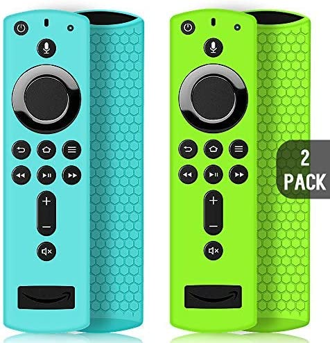 2 Pack Remote Case/Cover for Fire TV Stick 4K,Protective Silicone Holder Lightweight Anti Slip Shockproof for Fire TV Cube/third Gen All-New second Gen Alexa Voice Remote Control-Turquoise,Green