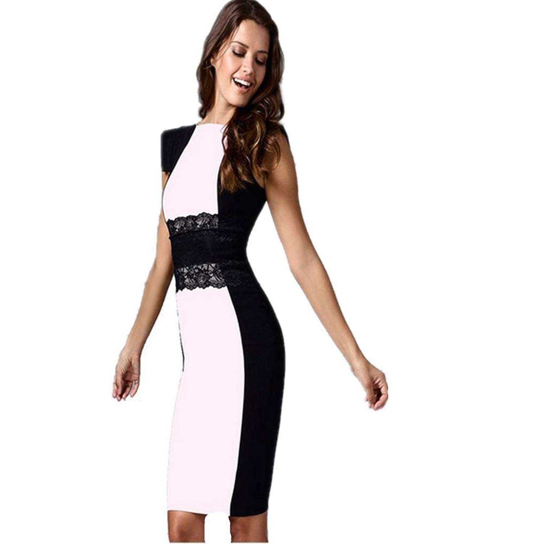 HXX Damen Kleid schlanke Rundhals Kurzarm Frühling Sommer Polyester (weiß)