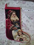 New Handmade Christmas Wool Needlepoint Stocking-satan Claus & Baby