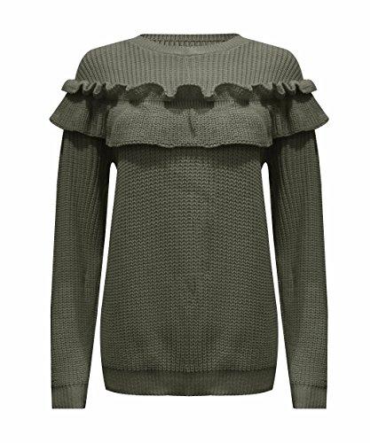 Ladies Frill Detail Ruffle Chunky Knitted Jumper US Size 6-12 (M/L (US 10-12), Khaki) - Frill Detail Cardigan