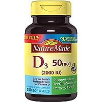 Cápsulas blandas Nature Made Vitamin D3 2000 IU, 250 Ct