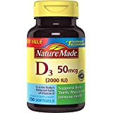 Nature Made Vitamin D3 2000 IU Softgels 250 Ct Value Size (Packaging may vary)