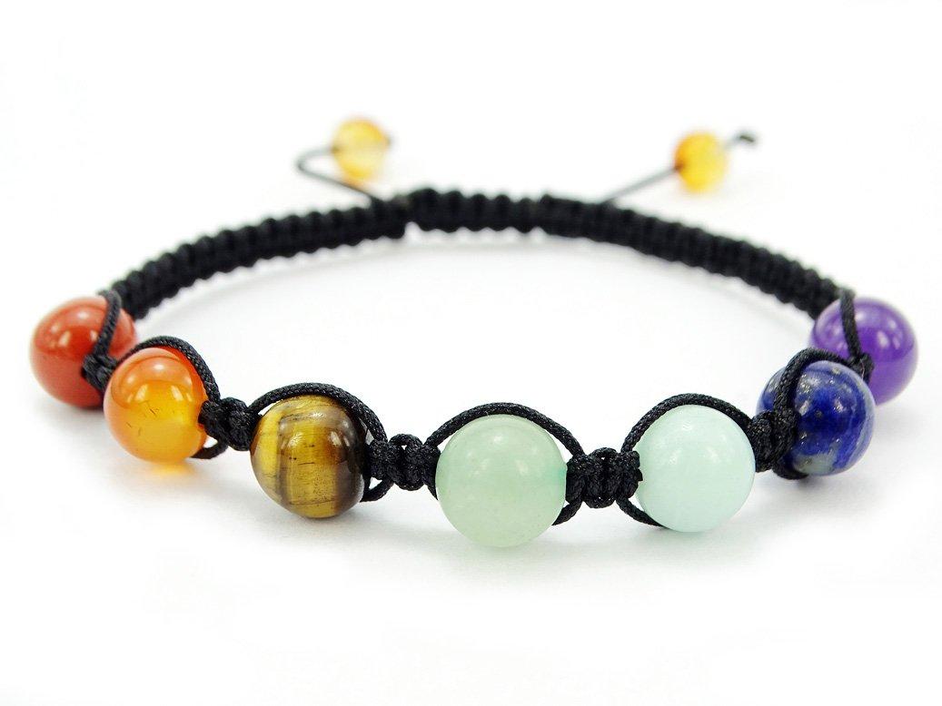 jennysun2010 Natural Reiki Chakra Gemstones Braided Black Rope Round Beaded Handmade Adjustable Bracelet Healing Unisex JSSevenBeadBraceletCA-3