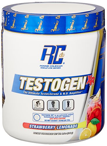 Ronnie Coleman Signature Series Testogen-XR, Natural Testosterone Booster and Nitric Oxide Amplifing Combo, Strawberry Lemonade, 240 Gram/30 Servings