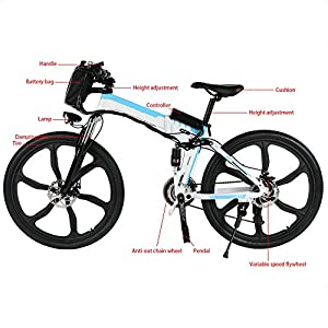 Folding Electric Moped Sport Mountain Men Bicycle with Large Capacity Battery [US STOCK] (White)